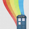 arch: The TARDIS with a rainbow coming from the top (doctor who - rainbow tardis)