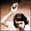 mayhap: vintage woman raising a hairbrush to spank (hairbrush)