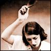 mayhap: vintage woman raising a hairbrush to spank (hairbrush)