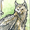 ext_181: Watercolor & pencil drawing of a brownish-grey cat with wings. (Winged Kitty)
