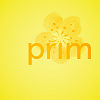 littleduckpn12: a yellow card with a flower behind the word Prim (Prim - THG Card)