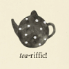 "syntheid: a drawing of a teapot with caption ""*tea*-riffic!"" (tea-riffic!)"