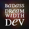 """mark: White text """"badass dreamwidth dev"""" against a black background with fuzzy red/yellow blobs. (Default)"""