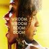 """theleaveswant: overlaid faces of Aisha (Zoe Saldana) and Kim (Tracie Thoms) facing opposite directions + words """"vroom vroom boom boom"""" (vroom vroom boom boom)"""