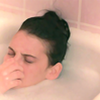 theleaveswant: Moonie (Liane Balaban) in New Waterford Girl pinching her nose to prepare from ducking below surface of her bubble bath (bath not this again NWG)