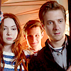 such_heights: amy and eleven and rory staring into space (who: amy/eleven/rory [tardis door])