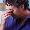 aggravated: (sad - brow rub)
