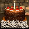 "ace_cadet: The cake from the ending of ""Portal"", with the caption ""Ceci n'est pas un mensonge"" (""This is not a lie"" in French). (cake, portal) (Default)"