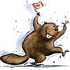 littlemousling: Cartoon beaver joyously waving a Canadian flag (beaver)