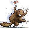 littlemousling: Cartoon beaver joyously waving a Canadian flag (beaver)