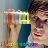 thecolourclear: Eleven listening to the wall with a rainbow glass. text: I hear rainbows (doctor who: i hear rainbows)