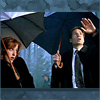 red_eft: Scully and Mulder holding umbrellas, looking up at the sky, confused (mulder it is raining frogs)