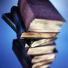 onyxlynx: Nondescript stack of old hardcover books (Stack of books)