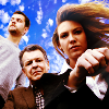 kay_brooke: Olivia, Walter, and Peter from Fringe, looking down into the camera (fringe)