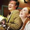 azarsuerte: The Eleventh Doctor (Matt Smith) and Amy (Karen Gillan) looking up and smiling (Doctor Who - Eleven and Amy)