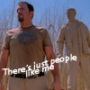 "abyssinia: Jayne standing in front of his statue, words ""there's just people like me"" (Firefly - Jayne's no hero)"