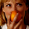 phoenix64: parker holding an orange and smiling (sarah connor)