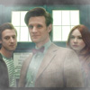 pocketmouse: Amy, Rory, and the Doctor standing in front of the TARDIS. Last shot filmed together. Their faces are slightly obscured. (ot3_clouds)