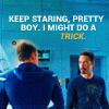 "mrstotten: Avengers: Tony and Steve, ""Keep staring, pretty boy. I might do a trick."" (Avengers → take that off and what are yo)"