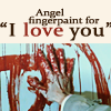 "mrstotten: Supernatural: Castiel's hand covered in blood, writing a symbol on the wall. ""Angel fingerpaint for I love you"" (SPN → casdeaniloveyou)"