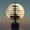 needled_ink_1975: A clipper ship silhouetted against the moon (tall ship)