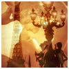 laeria: Implied-Parisian lamp post, Eiffel tower, people embracing, all meshed together and looking golden-autumny, um. (Default)
