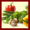 ilyena_sylph: green onions, mushrooms, and red and yellow peppers on a pale background with a deep red border (Photos: cooking)