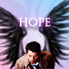 lilyleia78: Cas with drawn black wings captioned hope (Supernatural: Hope)