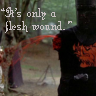 cowgirl65: blood spurting out from the black knight's former arm - Monty Python (it's only a flesh wound)