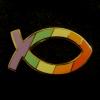 el_staplador: a rainbow-patterned icthus brooch (lgbtx)