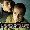walkingshadow: kirk and spock gaze out of the abyss. text: i believe we've found their webcam, captain. (he who fights with monsters)