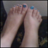 ambersweet: shot of my feet, toenails painted Zydrate blue (Zydrate toes)