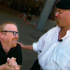 jeshyr: Jamie from Mythbusters looks down at excited kneeling Adam. (Mythbusters)