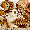 quillori: Victorian illustartion of three owls whispering to each other (subject: parliament of owls, stock: parliament of owls, theme: gossip)