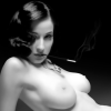 quillori: b&w photo of naked woman with cigarette in holder (theme: smoking, theme: nsfw (cigarette))