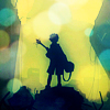 mokie: FLCL's Naota silhouetted holding a guitar (impressed, intrigued, enthralled, quixotic, artistic)