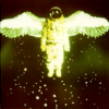 mokie: An astronaut with birdwings flying up (technologize)
