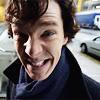 infinitelystranger: Sherlock with a big, nervous, obviously fake grin. (nervous grin)