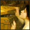 mokie: John William Waterhouse's Pandora peers into the box (tempted, explore, drama, disbelief, impatient)