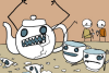 mokie: Cartoon of an angry tea pot raging (drink tea, thirsty, drink caffeine, drink coffee, rawr)