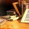quillori: desk with books (subject: desk, theme: writing (desk), stock: desk)