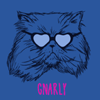 "instantramen: drawing of a housecat wearing heart-shaped sunglasses with the word ""gnarly"" underneath (that is one cool cat)"