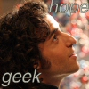 "fatoudust: ""geek hope"" Charlie from Numb3rs looking up at a dna model (geek hope)"