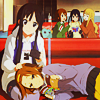 laceblade: Ritsu curled up next to Mio on a bench, with her head in Mio's lap. (K-On!: Mio & Ritsu)