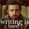 "solitarysloth: a frowning man, captioned by ""Writing is Hard"" (I agree with Chuck on this)"
