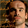 ecaterin: Harry Dresden doing yoga, looks concerned.  text: yoga: bad for wizard health (bad for wizard health)