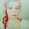 bookblather: Elle Fanning with her hair braided in a blue ribbon, looking at the camera. (Gabrielle - Elle Fanning)