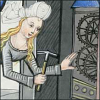 quillori: old illustration of Temperance fixing clock gears with a hammer (theme: computers (tech support), theme: tech support)