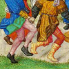 quillori: detail of men dancing from a Flemish psalter (theme: dancing)