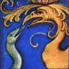 quillori: detail of an illustration from a Book of Hours (stock: book of hours (snake & wyvern))